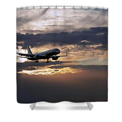 American Aircraft Landing At The Twilight. Miami. Fl. Usa Shower Curtain