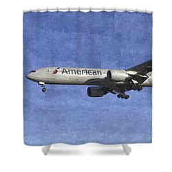 American Airlines Boeing 777 Aircraft Art Shower Curtain