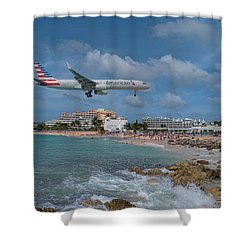 American Airlines Landing At St. Maarten Airport Shower Curtain by David Gleeson