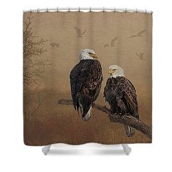 American Bald Eagle Family Shower Curtain