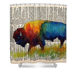 American Buffalo IIi On Vintage Dictionary Shower Curtain