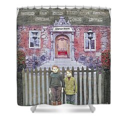 Shower Curtain featuring the mixed media American Dreams by Desiree Paquette