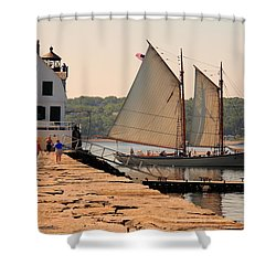 American Eagle At The Lighthouse Shower Curtain
