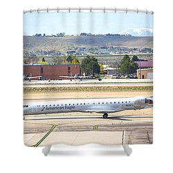 Shower Curtain featuring the photograph American Eagle Boi by Dart Humeston