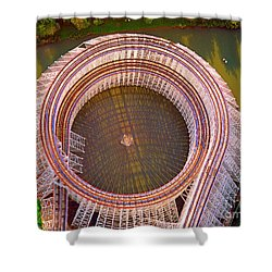 Shower Curtain featuring the photograph American Eagle Roller Coaster  by Tom Jelen