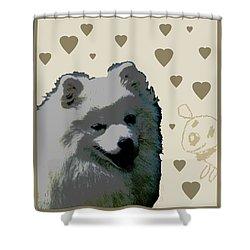 American Eskimo Shower Curtain by One Rude Dawg Orcutt