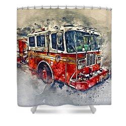 American Fire Truck Shower Curtain