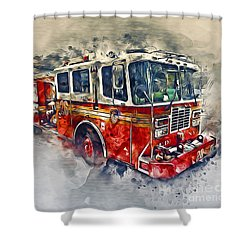 American Fire Truck Shower Curtain