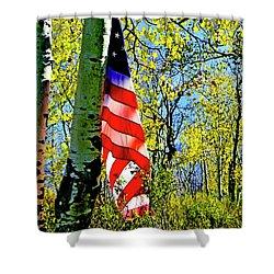 American Flag A Veteran Hunters Homage Shower Curtain