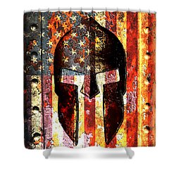American Flag And Spartan Helmet On Rusted Metal Door - Molon Labe Shower Curtain