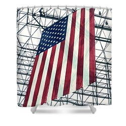 American Flag In Kennedy Library Atrium - 1982 Shower Curtain by Thomas Marchessault