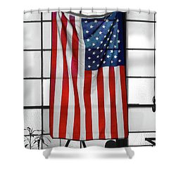 Shower Curtain featuring the photograph American Flag In The Window by Mike McGlothlen