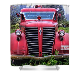 American Foamite Firetruck1 Shower Curtain by Susan Crossman Buscho
