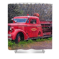 American Foamite Firetruck2 Shower Curtain by Susan Crossman Buscho