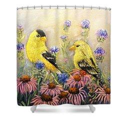 American Goldfinch Pair Shower Curtain