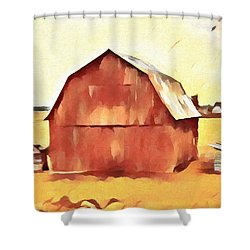Shower Curtain featuring the painting American Gothic Red Barn by Dan Sproul
