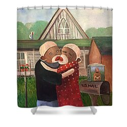 American Gothic The Monkey Lisa And The Holler Shower Curtain