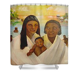 Shower Curtain featuring the painting American Holocaust Survivors by Saundra Johnson