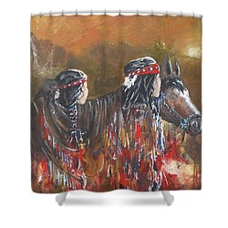 American Indians Family Shower Curtain