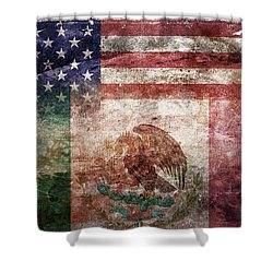 American Mexican Tattered Flag  Shower Curtain