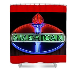 Shower Curtain featuring the photograph American Oil Sign by Sandy Keeton