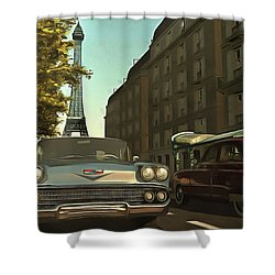 American  Oldtimers In Paris Shower Curtain