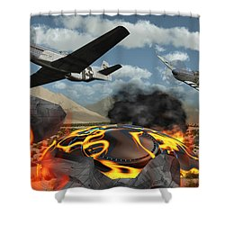 American P-51 Mustang Fighter Planes Shower Curtain by Mark Stevenson