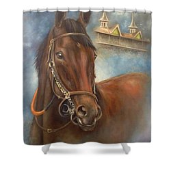 American Pharoah Shower Curtain by Patrice Torrillo