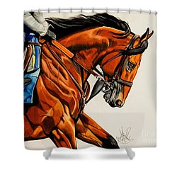 American Pharoah - Triple Crown Winner In White Shower Curtain