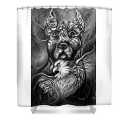 American Pitbull Shower Curtain by Patricia Lintner