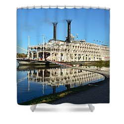 American Queen Steamboat Reflections On The Mississippi River Shower Curtain