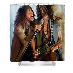 American Rock  Steven Tyler And Joe Perry Shower Curtain by Iconic Images Art Gallery David Pucciarelli