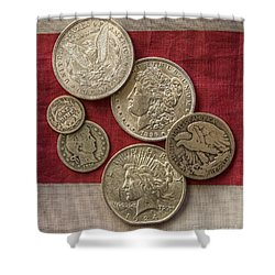 American Silver Coins Shower Curtain