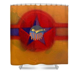 Shower Curtain featuring the painting American Sub Decal by Charles Stuart