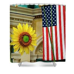 American Sunflower Shower Curtain by Rae Tucker