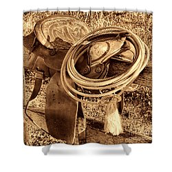 American West Legend Rodeo Western Lasso On Saddle Shower Curtain by American West Legend By Olivier Le Queinec