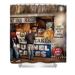 Americana - Food - Hot Dogs And Funnel Cakes Shower Curtain by Mike Savad