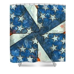 Shower Curtain featuring the digital art Americana Abstract by Edward Fielding