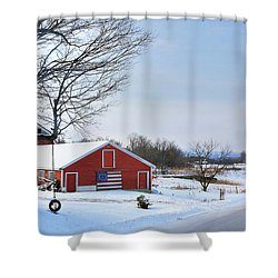 Shower Curtain featuring the digital art Americana Barn In Vermont by Sharon Batdorf
