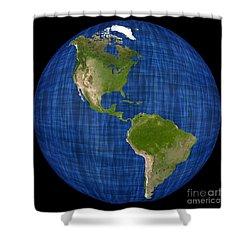 Americas On A Globe The Western Hemisphere Shower Curtain by Wernher Krutein