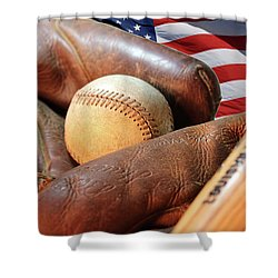 Americas Pastime Shower Curtain by Pat Cook