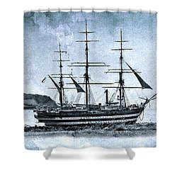 Amerigo Vespucci Sailboat In Blue Shower Curtain