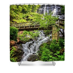 Shower Curtain featuring the photograph Amicalola Falls Top To Bottom by Debra and Dave Vanderlaan
