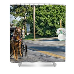 Shower Curtain featuring the photograph Amish Girl On The Road by Patricia Hofmeester