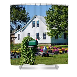 Shower Curtain featuring the photograph Amish House With Mums by Cricket Hackmann