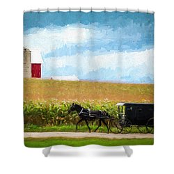 Shower Curtain featuring the digital art Amish Paradise by Joel Witmeyer