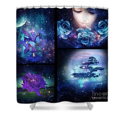 Shower Curtain featuring the digital art Among The Stars Series by Mo T