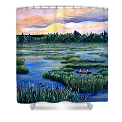 Amongst The Reeds Shower Curtain by Renate Nadi Wesley