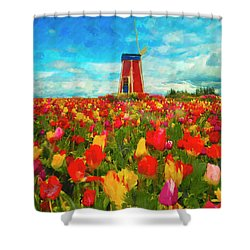 Amongst The Tulips Shower Curtain