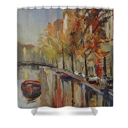 Amsterdam Autumn With Boat Shower Curtain
